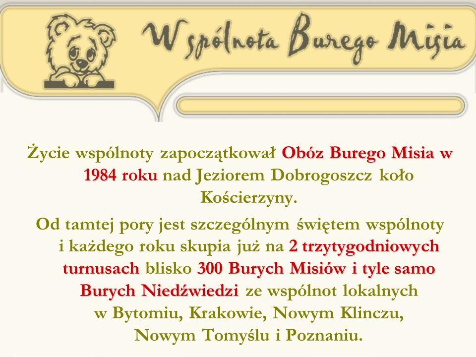 Obóz Burego Misia w 1984 Życie wspólnoty zapoczątkował Obóz Burego Misia w 1984 roku nad Jeziorem Dobrogoszcz koło Kościerzyny.