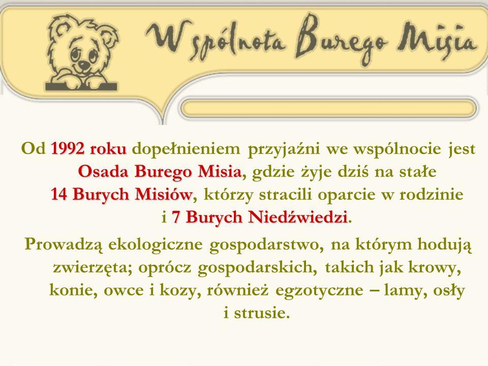1992 roku Osada Burego Misia 14 Burych Misiów 7 Burych Niedźwiedzi Od 1992 roku dopełnieniem przyjaźni we wspólnocie jest Osada Burego Misia, gdzie żyje dziś na stałe 14 Burych Misiów, którzy stracili oparcie w rodzinie i 7 Burych Niedźwiedzi.