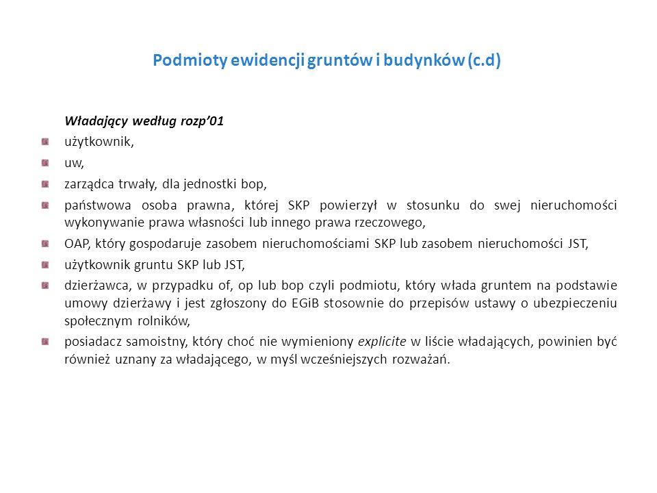 Podmioty ewidencji gruntów i budynków (c.d) Władający według rozp01 użytkownik, uw, zarządca trwały, dla jednostki bop, państwowa osoba prawna, której