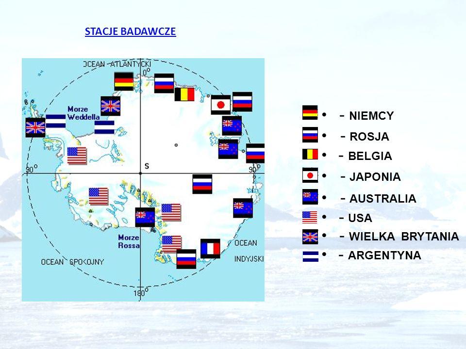 STACJE BADAWCZE - NIEMCY - ROSJA - BELGIA - JAPONIA - AUSTRALIA - USA - WIELKA BRYTANIA - ARGENTYNA