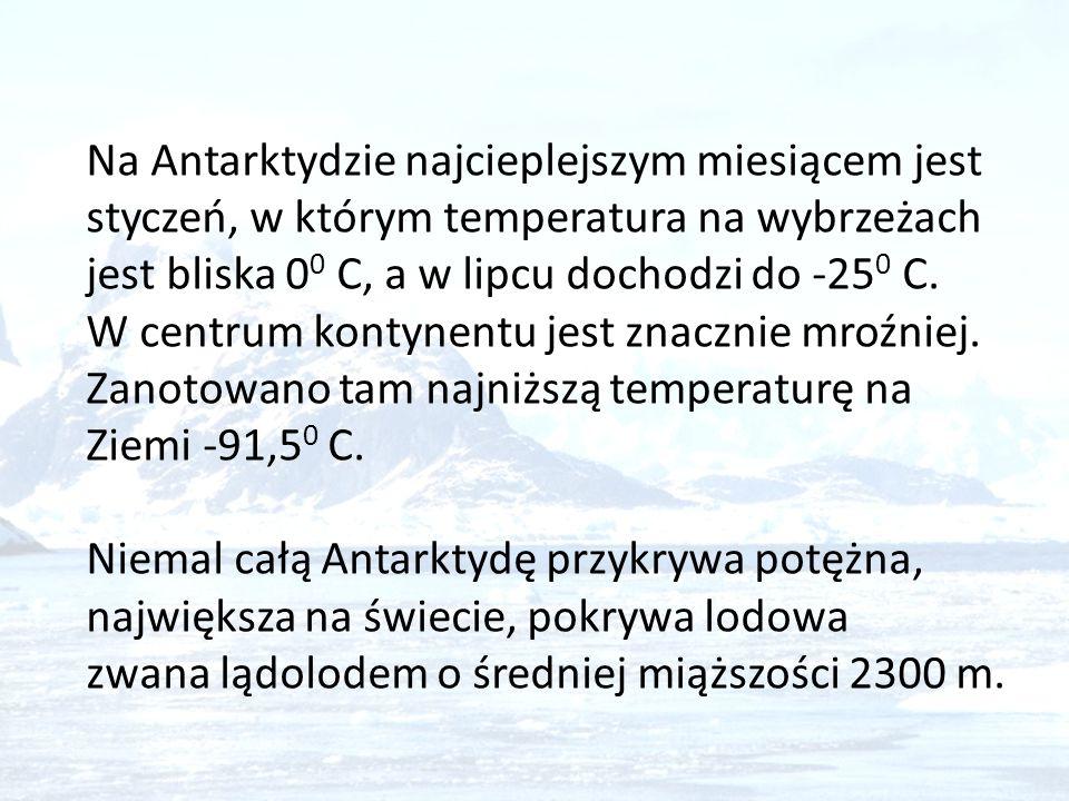 Na Antarktydzie najcieplejszym miesiącem jest styczeń, w którym temperatura na wybrzeżach jest bliska 0 0 C, a w lipcu dochodzi do -25 0 C. W centrum