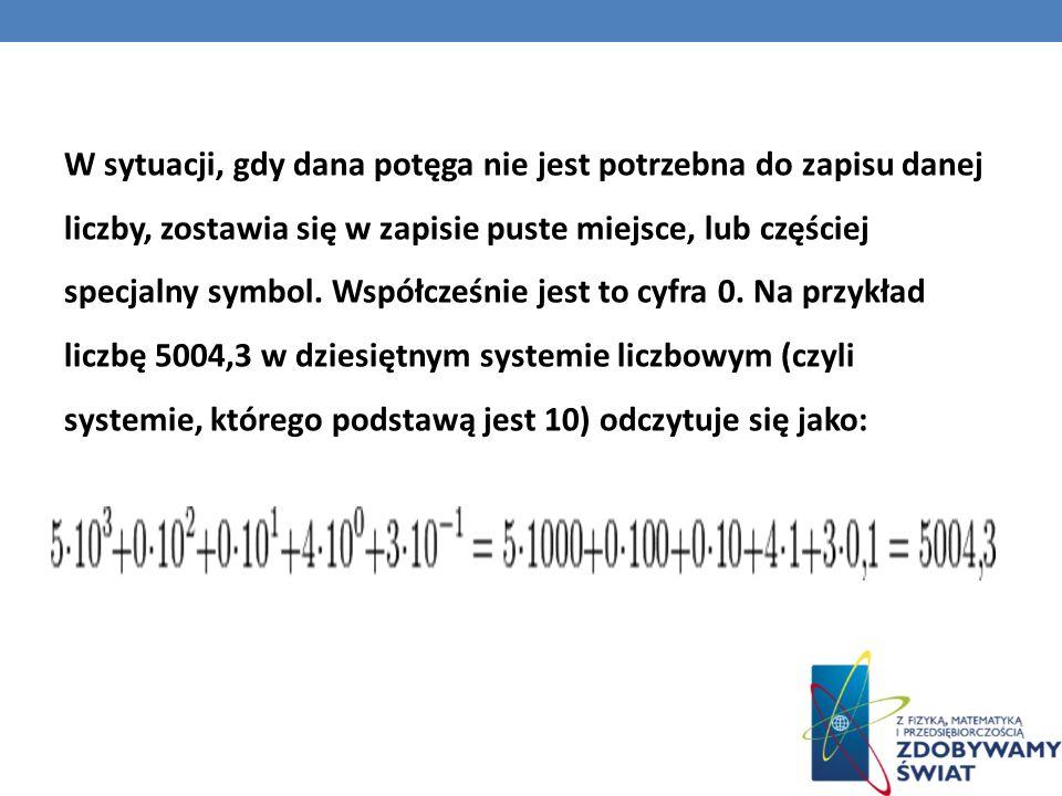 W sytuacji, gdy dana potęga nie jest potrzebna do zapisu danej liczby, zostawia się w zapisie puste miejsce, lub częściej specjalny symbol. Współcześn