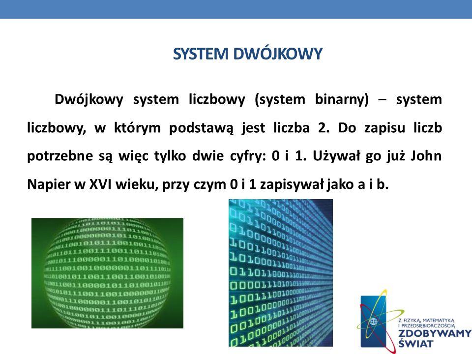 SYSTEM DWÓJKOWY Dwójkowy system liczbowy (system binarny) – system liczbowy, w którym podstawą jest liczba 2. Do zapisu liczb potrzebne są więc tylko