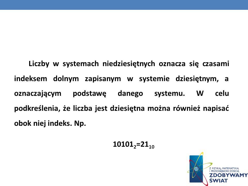 Liczby w systemach niedziesiętnych oznacza się czasami indeksem dolnym zapisanym w systemie dziesiętnym, a oznaczającym podstawę danego systemu. W cel