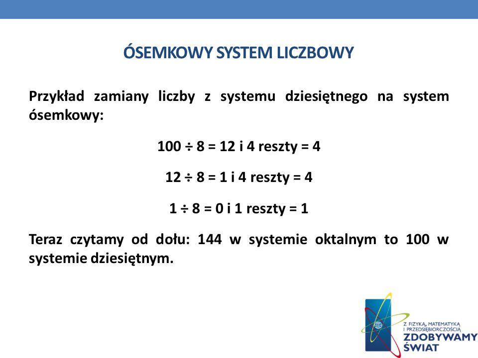 ÓSEMKOWY SYSTEM LICZBOWY Przykład zamiany liczby z systemu dziesiętnego na system ósemkowy: 100 ÷ 8 = 12 i 4 reszty = 4 12 ÷ 8 = 1 i 4 reszty = 4 1 ÷