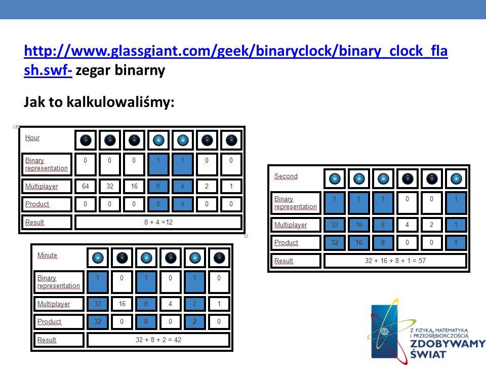 http://www.glassgiant.com/geek/binaryclock/binary_clock_fla sh.swf-http://www.glassgiant.com/geek/binaryclock/binary_clock_fla sh.swf- zegar binarny J