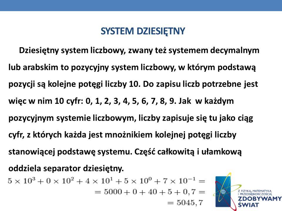 SYSTEM DZIESIĘTNY Dziesiętny system liczbowy, zwany też systemem decymalnym lub arabskim to pozycyjny system liczbowy, w którym podstawą pozycji są ko