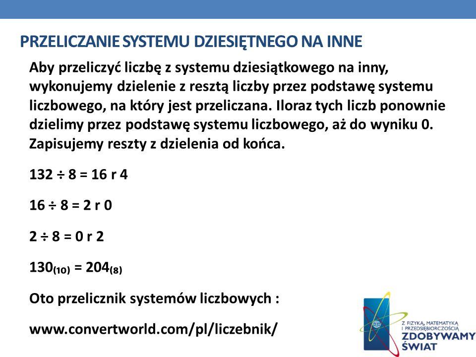 PRZELICZANIE SYSTEMU DZIESIĘTNEGO NA INNE Aby przeliczyć liczbę z systemu dziesiątkowego na inny, wykonujemy dzielenie z resztą liczby przez podstawę
