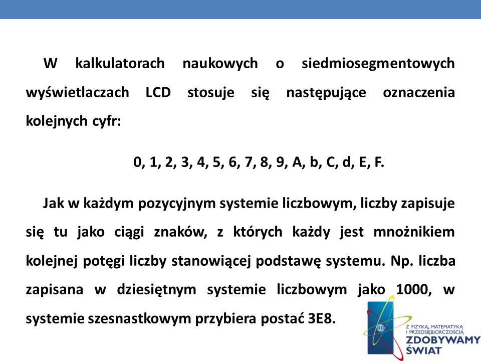 W kalkulatorach naukowych o siedmiosegmentowych wyświetlaczach LCD stosuje się następujące oznaczenia kolejnych cyfr: 0, 1, 2, 3, 4, 5, 6, 7, 8, 9, A,