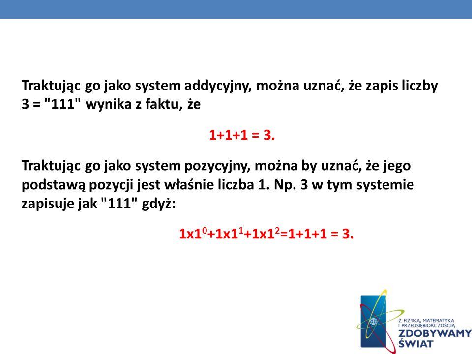 Traktując go jako system addycyjny, można uznać, że zapis liczby 3 =