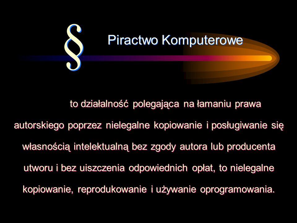 to działalność polegająca na łamaniu prawa autorskiego poprzez nielegalne kopiowanie i posługiwanie się własnością intelektualną bez zgody autora lub producenta utworu i bez uiszczenia odpowiednich opłat, to nielegalne kopiowanie, reprodukowanie i używanie oprogramowania.