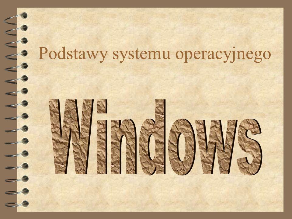 Widok pulpitu Ikony programów, folderów, skrótów Przycisk Start Pasek zadań Menu kontekstowe Standardowe ikony Kosza i Mojego komputera