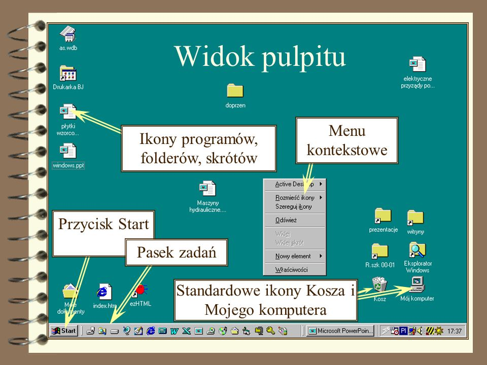 Widok okna Pasek tytułu Menu główne Przyciski minimalizuj/przywróć/zam knij Pasek narzędziowy