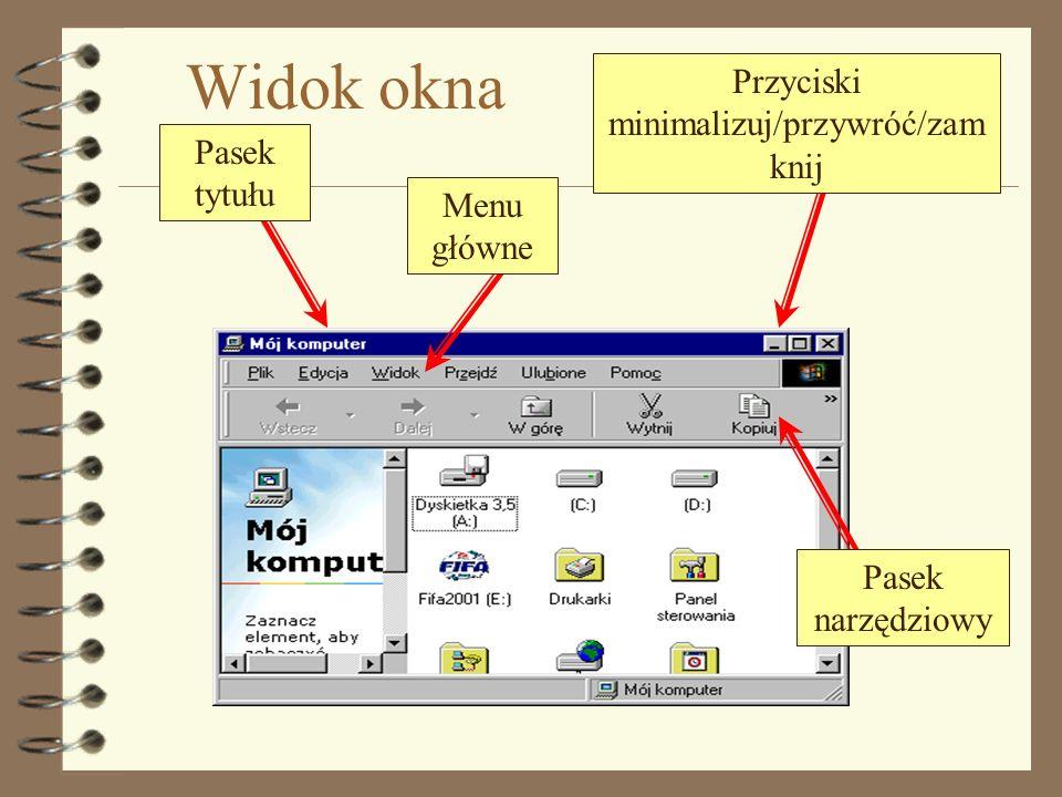 Zmiana wielkości okna Otwórz okno Mojego komputera Spróbuj zmienić jego wielkość do postaci przedstawionej na rysunku