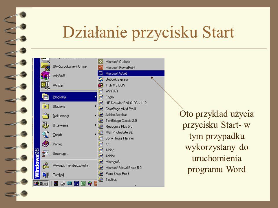 Działanie przycisku Start Oto przykład użycia przycisku Start- w tym przypadku wykorzystany do uruchomienia programu Word