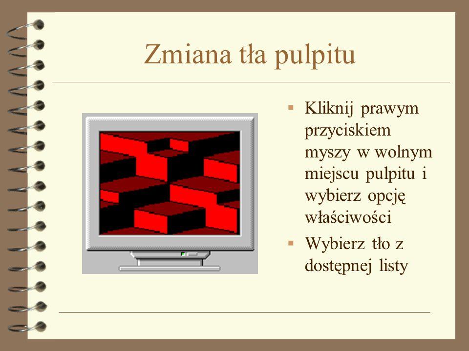 Ustawianie wygaszacza ekranu Kliknij prawym przyciskiem myszy w wolnym miejscu pulpitu i wybierz opcję właściwości Uruchom zakładkę wygaszacz ekranu