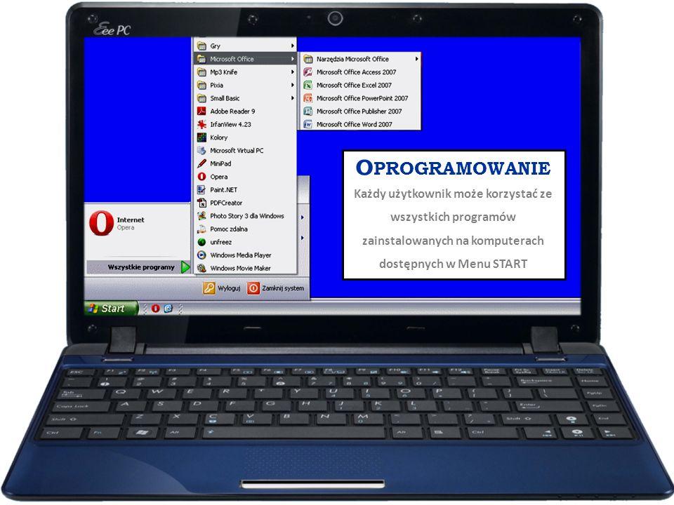 O PROGRAMOWANIE Każdy użytkownik może korzystać ze wszystkich programów zainstalowanych na komputerach dostępnych w Menu START