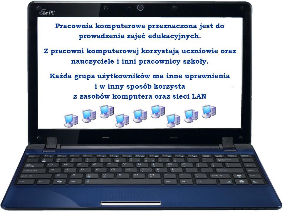 Pracownia komputerowa przeznaczona jest do prowadzenia zajęć edukacyjnych. Z pracowni komputerowej korzystają uczniowie oraz nauczyciele i inni pracow