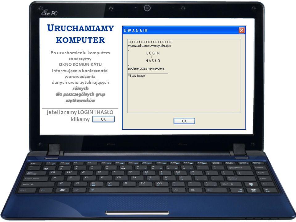 U RUCHAMIAMY KOMPUTER Po uruchomieniu komputera zobaczymy OKNO KOMUNIKATU różnych dla poszczególnych grup użytkowników informujące o konieczności wpro