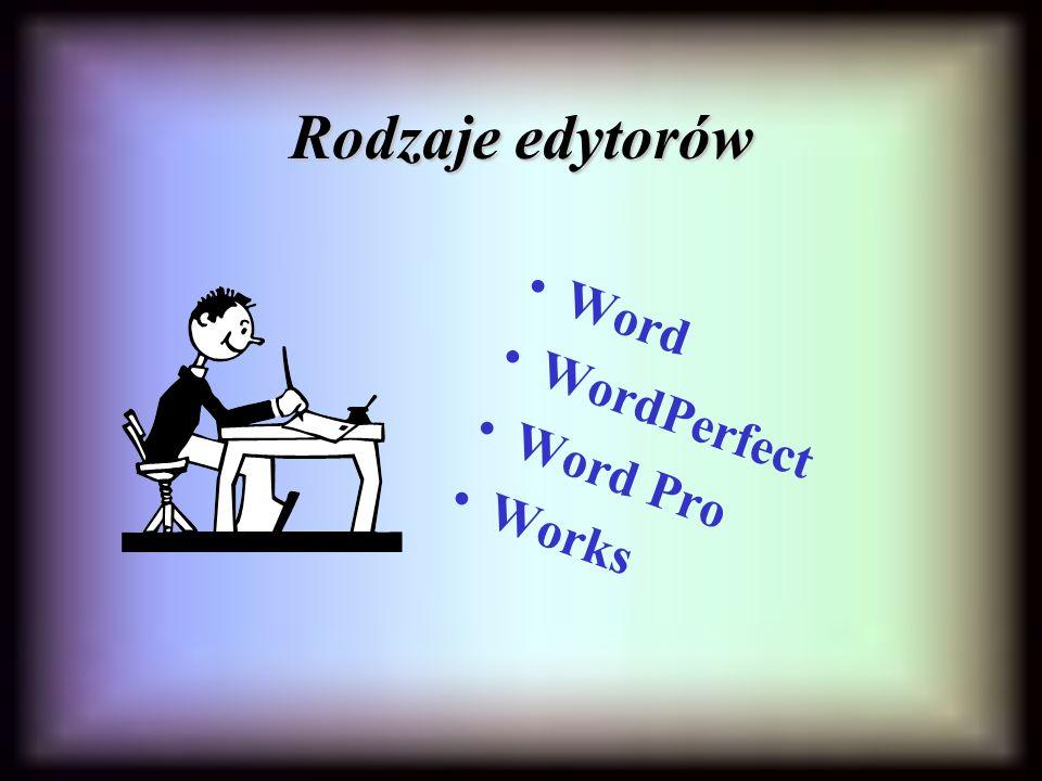 Rodzaje edytorów Word WordPerfect Word Pro Works