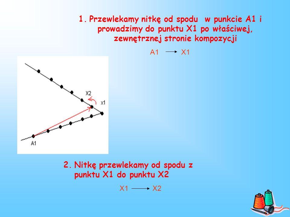1.Przewlekamy nitkę od spodu w punkcie A1 i prowadzimy do punktu X1 po właściwej, zewnętrznej stronie kompozycji A1 X1 2.Nitkę przewlekamy od spodu z punktu X1 do punktu X2 X1 X2