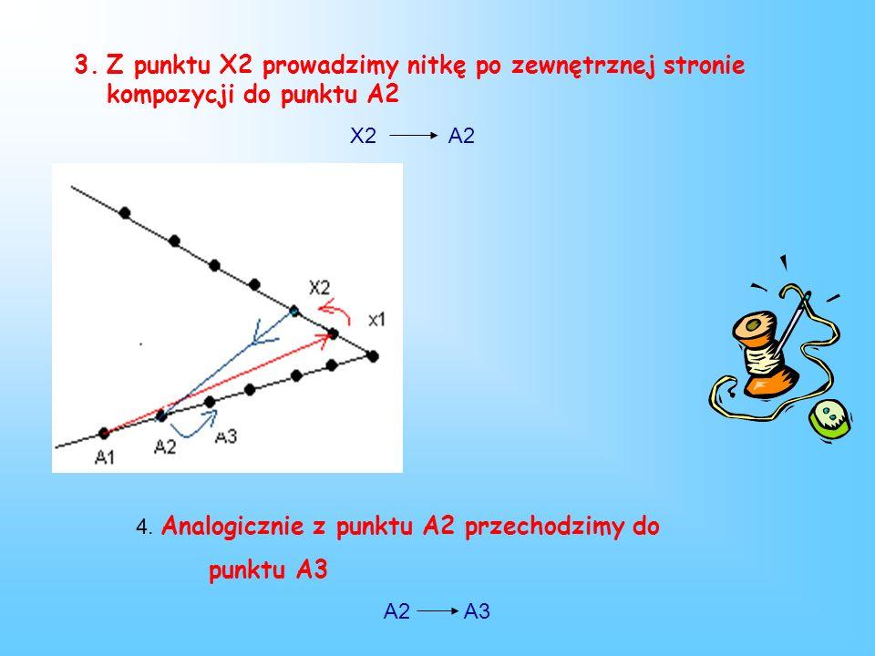 1.Przewlekamy nitkę od spodu w punkcie A1 i prowadzimy do punktu X1 po właściwej, zewnętrznej stronie kompozycji A1 X1 2.Nitkę przewlekamy od spodu z