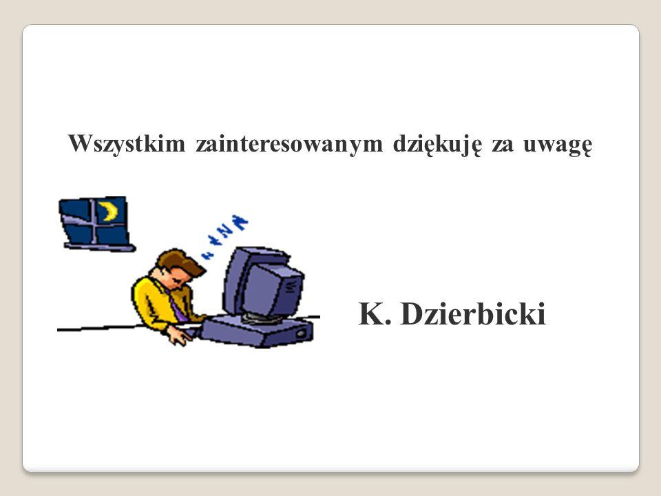 Wszystkim zainteresowanym dziękuję za uwagę Wszystkim zainteresowanym dziękuję za uwagę K. Dzierbicki