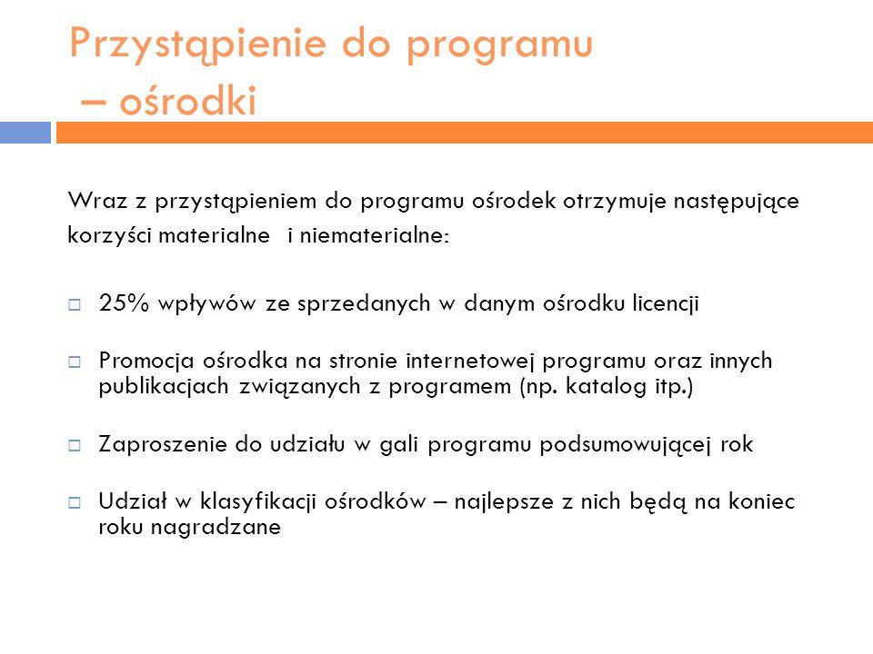 Przystąpienie do programu –ośrodki Wraz z przystąpieniem do programu ośrodek zobowiązuje się do: Zgłoszenia do programu przesłanego na odpowiednim formularzu Akceptacji regulaminu rozgrywek atp Ekspozycji materiałów przesłanych przez atp (np.