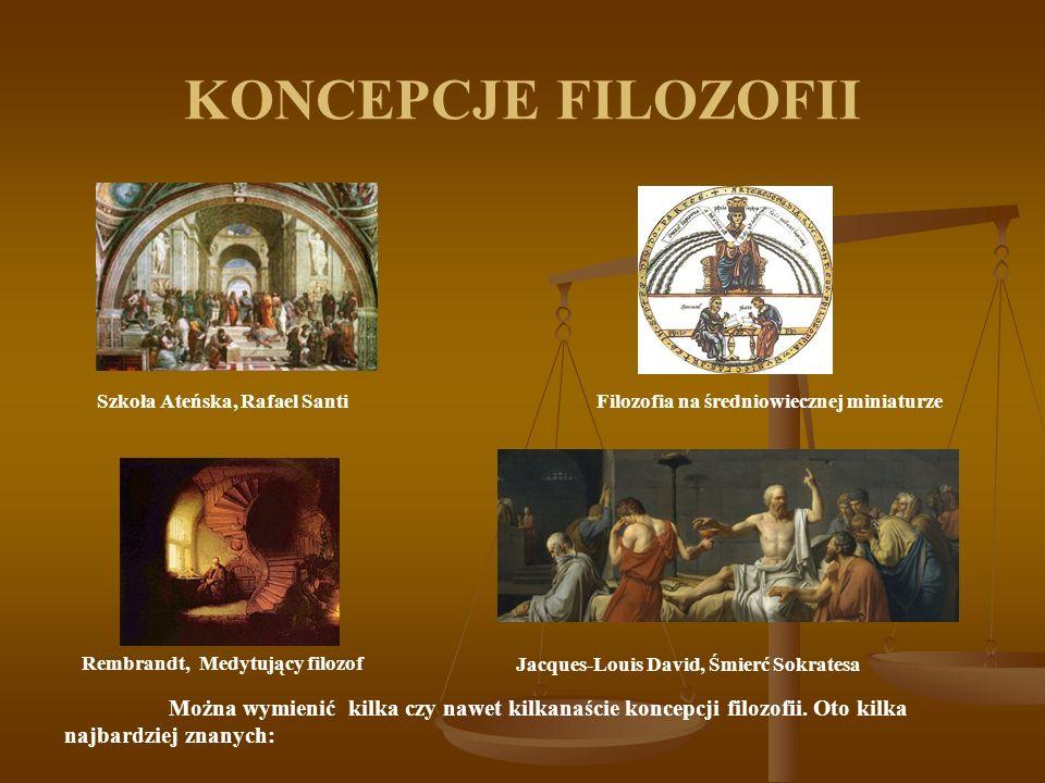 KONCEPCJE FILOZOFII Można wymienić kilka czy nawet kilkanaście koncepcji filozofii. Oto kilka najbardziej znanych: Szkoła Ateńska, Rafael SantiFilozof