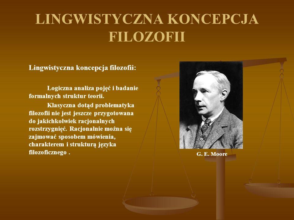 LINGWISTYCZNA KONCEPCJA FILOZOFII Lingwistyczna koncepcja filozofii: Logiczna analiza pojęć i badanie formalnych struktur teorii.