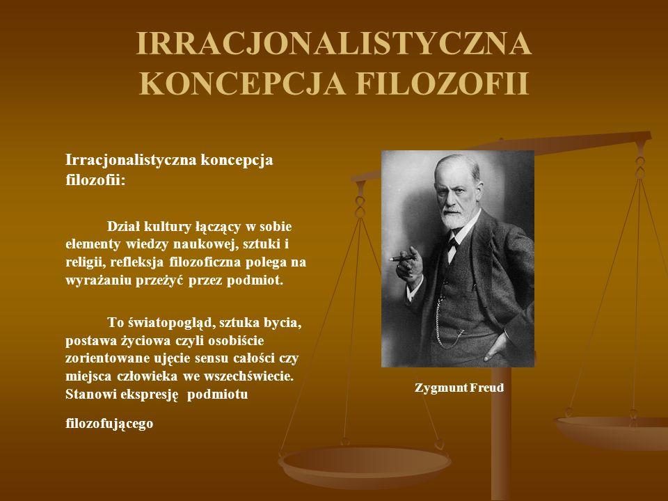 IRRACJONALISTYCZNA KONCEPCJA FILOZOFII Irracjonalistyczna koncepcja filozofii: Dział kultury łączący w sobie elementy wiedzy naukowej, sztuki i religi