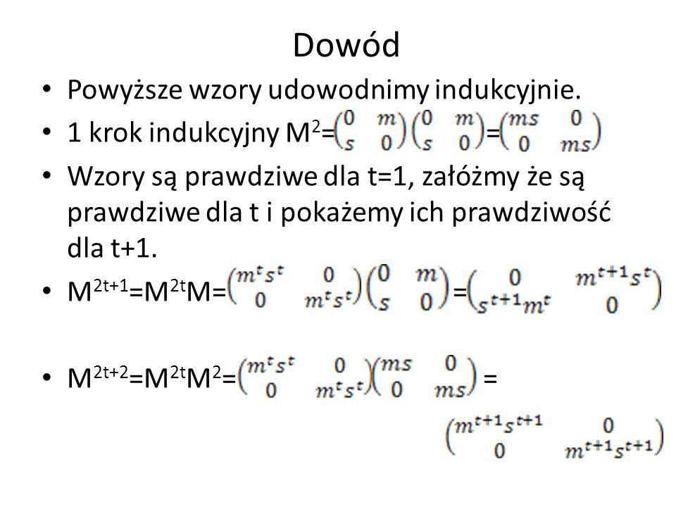 Dowód Powyższe wzory udowodnimy indukcyjnie. 1 krok indukcyjny M 2 = = Wzory są prawdziwe dla t=1, załóżmy że są prawdziwe dla t i pokażemy ich prawdz