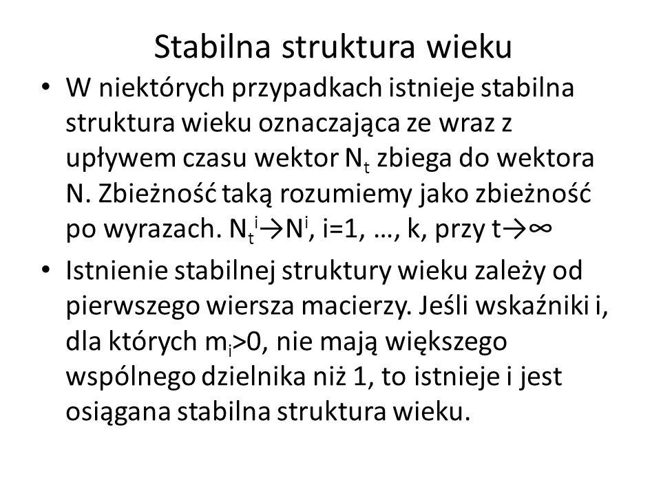 Stabilna struktura wieku W niektórych przypadkach istnieje stabilna struktura wieku oznaczająca ze wraz z upływem czasu wektor N t zbiega do wektora N