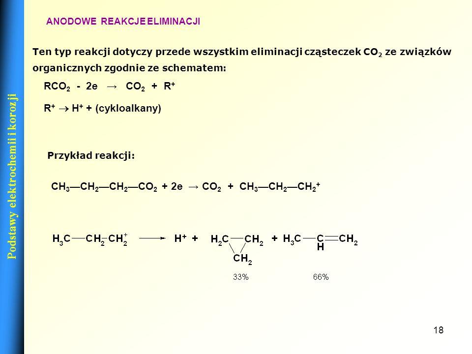 17 KATODOWE REAKCJE PRZYŁĄCZANIA ELEKTROFILOWEGO Katodowe reakcje przyłączania elektrofilowego przebiegają wg ogólnego schematu: Przykładem może być r