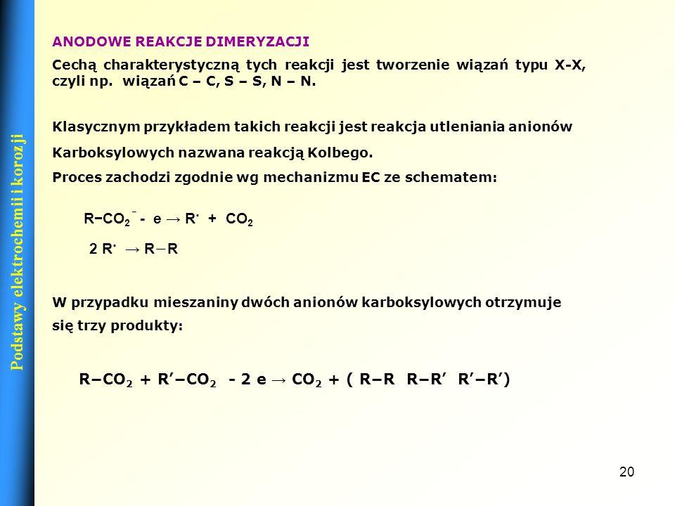 19 KATODOWE REAKCJE ELIMINACJI W przypadku tych reakcji i przebieg i produkty zależą od rodzaju wiązania, które ulega rozpadowi: RX + H + + 2e RH + X