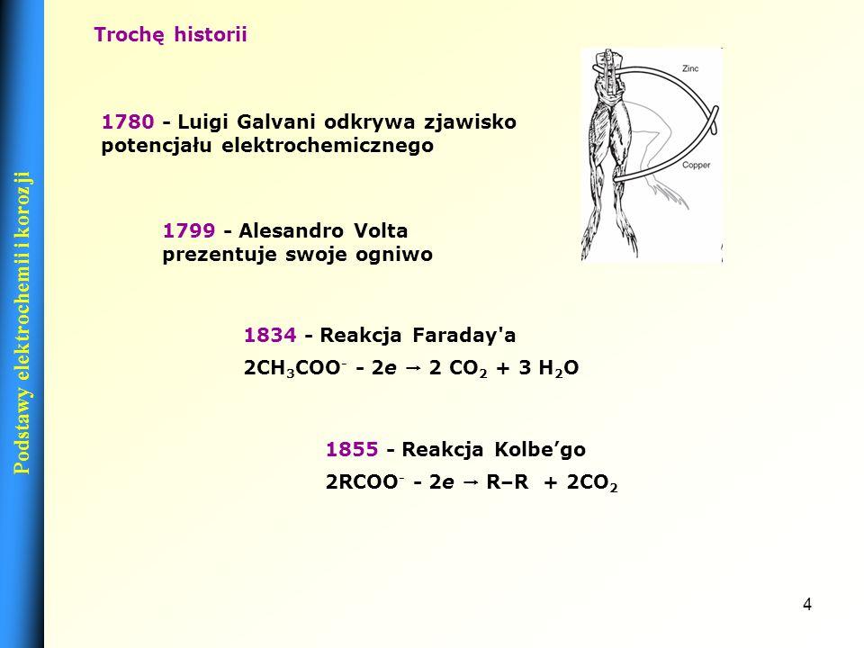 4 1834 - Reakcja Faraday a 2CH 3 COO - - 2e 2 CO 2 + 3 H 2 O 1799 - Alesandro Volta prezentuje swoje ogniwo Trochę historii 1780 - Luigi Galvani odkrywa zjawisko potencjału elektrochemicznego 1855 - Reakcja Kolbego 2RCOO - - 2e R–R + 2CO 2