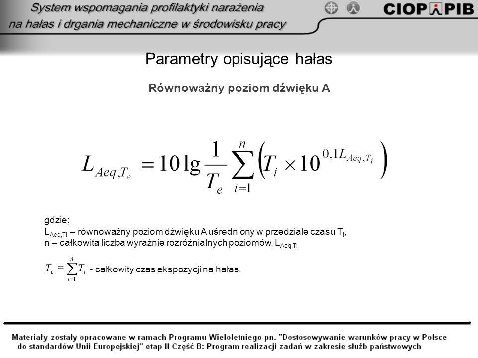 Parametry opisujące hałas Równoważny poziom dźwięku A gdzie: L Aeq,Ti – równoważny poziom dźwięku A uśredniony w przedziale czasu T i, n – całkowita l