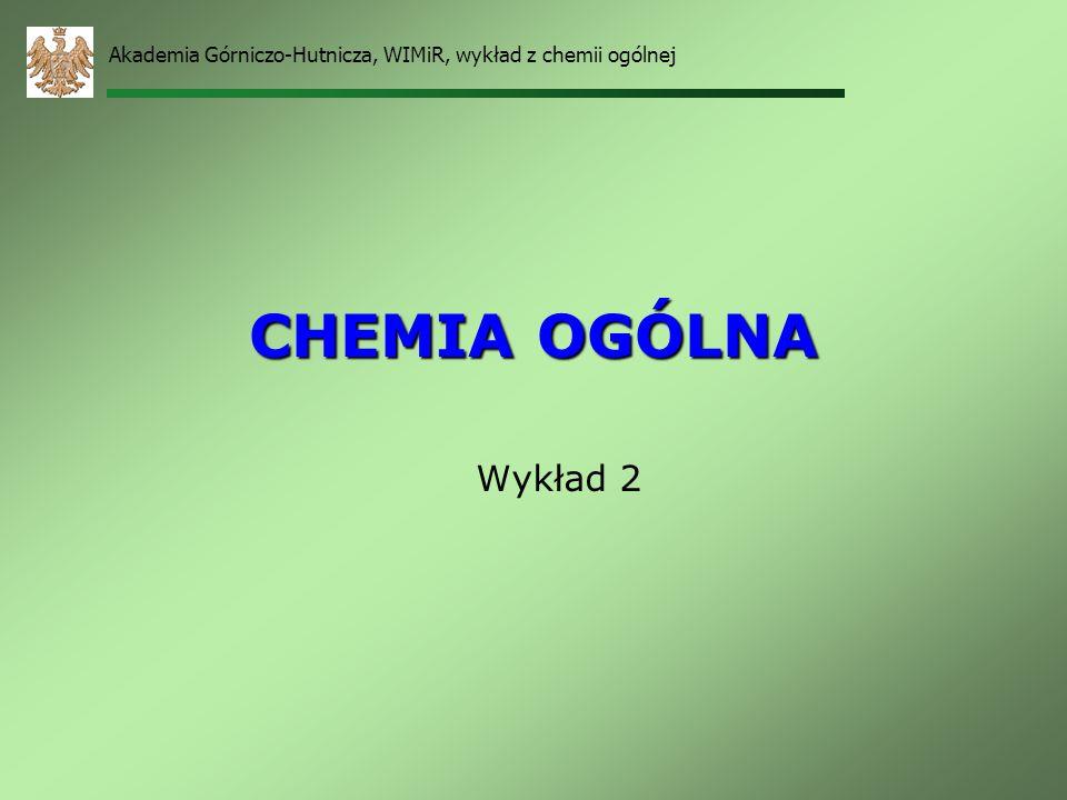 Akademia Górniczo-Hutnicza, WIMiR, wykład z chemii ogólnej 21 Nazewnictwo grup układu okresowego grupa pierwiastkównazwa systematycznanazwa zwyczajowa 1litowcemetale alkaliczne 2berylowce metale ziem alkalicznych, wapniowce (oprócz Be) 13borowceglinowce (oprócz B) 14 węglowce 15azotowce 16tlenowce 17fluorowcechlorowce, halogenowce 18helowcegazy szlachetne Fe, Co, Niżelazowce pierwiastki o l.