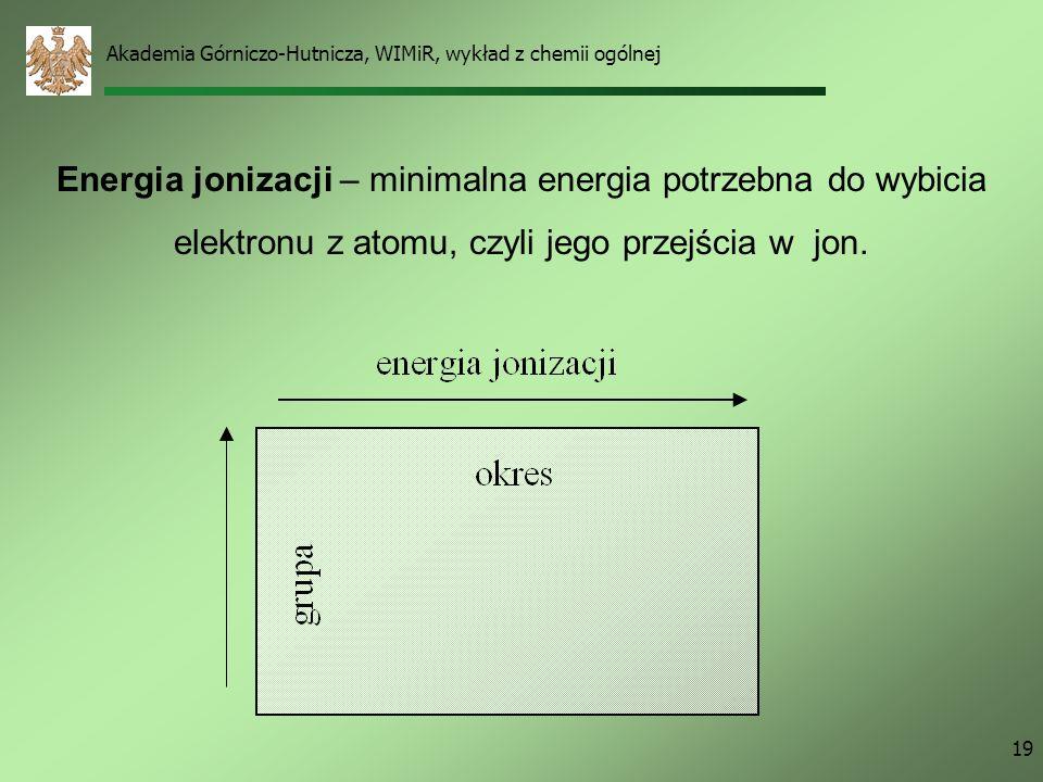 Akademia Górniczo-Hutnicza, WIMiR, wykład z chemii ogólnej 18 Zmiana właściwości pierwiastków w układzie okresowym Promień atomowy – odległość od jądr