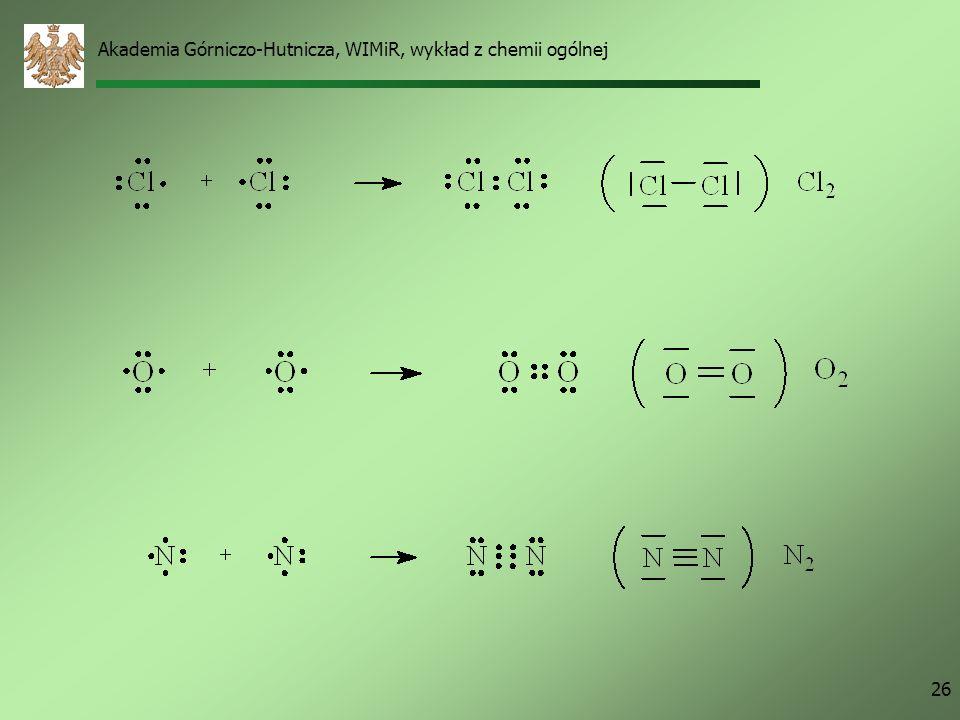Akademia Górniczo-Hutnicza, WIMiR, wykład z chemii ogólnej 25 Dwa atomy wodoru, 1 H = 1s 1 Najbliższy gaz szlachetny - 2 He = 1s 2 Wiązanie każdy atom