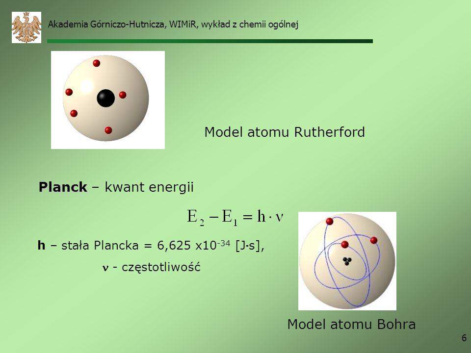 Akademia Górniczo-Hutnicza, WIMiR, wykład z chemii ogólnej 6 Model atomu Rutherford Planck Planck – kwant energii h – stała Plancka = 6,625 x10 -34 [Js], - częstotliwość Model atomu Bohra