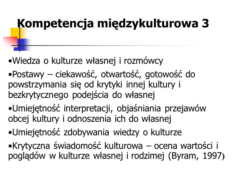 Kompetencja międzykulturowa 3 Wiedza o kulturze własnej i rozmówcy Postawy – ciekawość, otwartość, gotowość do powstrzymania się od krytyki innej kult