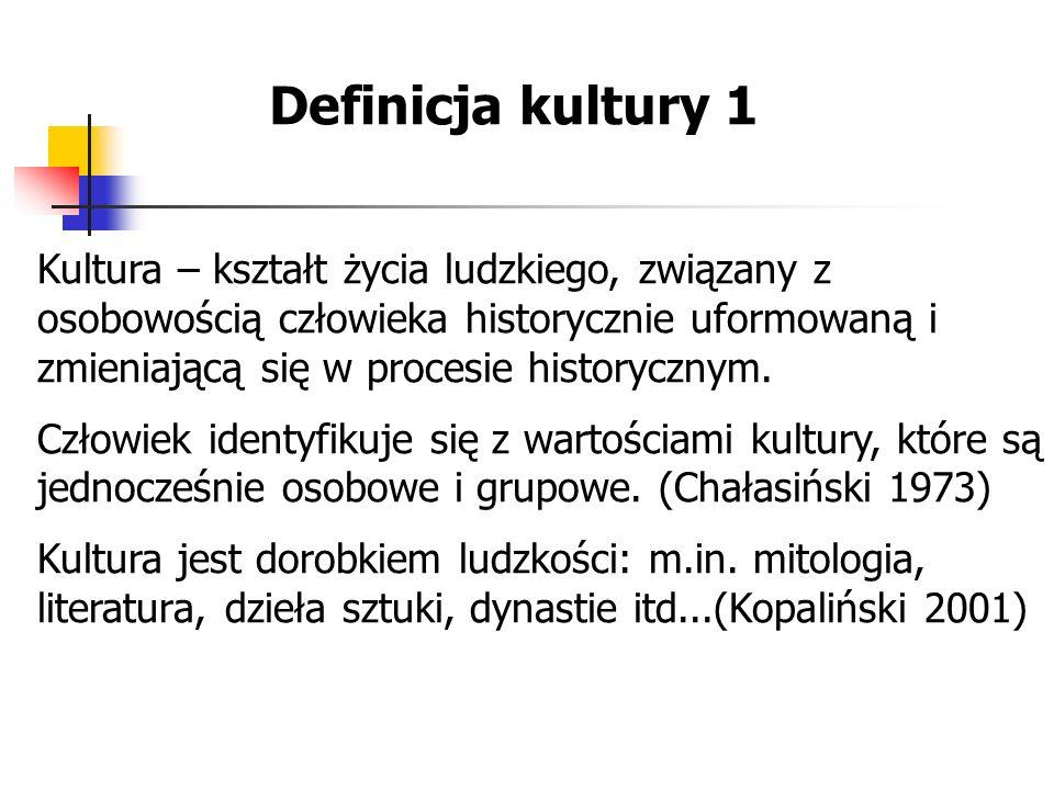 Definicja kultury 1 Kultura – kształt życia ludzkiego, związany z osobowością człowieka historycznie uformowaną i zmieniającą się w procesie historycz