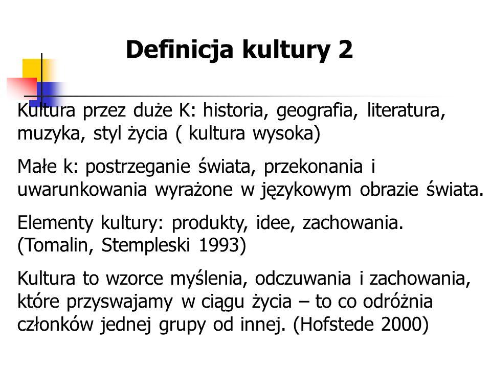 Definicja kultury 2 Kultura przez duże K: historia, geografia, literatura, muzyka, styl życia ( kultura wysoka) Małe k: postrzeganie świata, przekonan