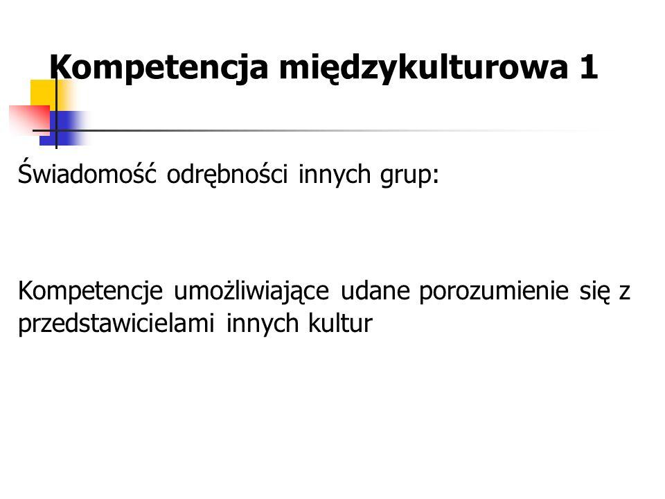 Kompetencja międzykulturowa 1 Świadomość odrębności innych grup: Kompetencje umożliwiające udane porozumienie się z przedstawicielami innych kultur