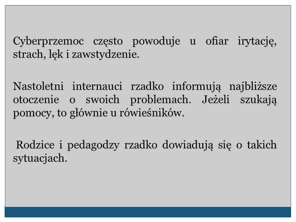 Jeśli ofiarą przemocy (w tym cyberprzemocy) jest nauczyciel, to zgodnie z nowelizacją Karty Nauczyciela, od maja 2007 r.