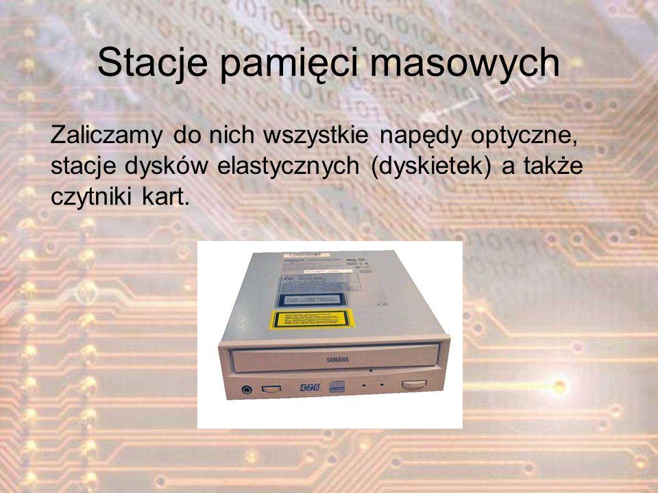 Stacje pamięci masowych Zaliczamy do nich wszystkie napędy optyczne, stacje dysków elastycznych (dyskietek) a także czytniki kart.