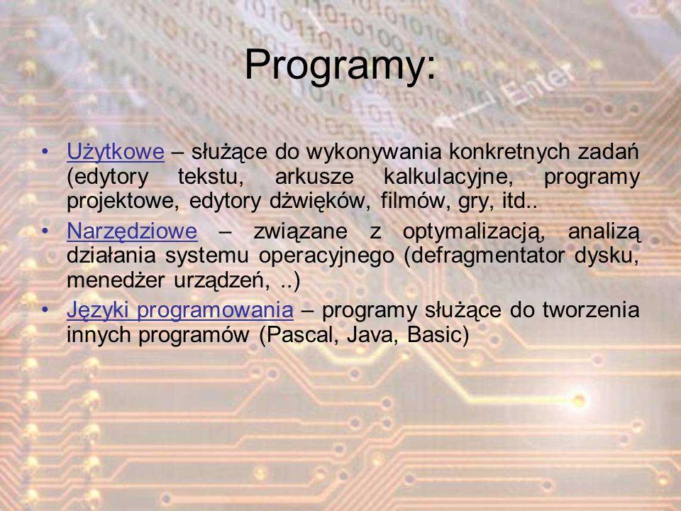 Programy: Użytkowe – służące do wykonywania konkretnych zadań (edytory tekstu, arkusze kalkulacyjne, programy projektowe, edytory dżwięków, filmów, gr