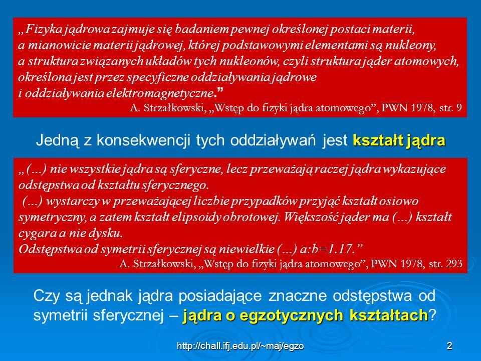 http://chall.ifj.edu.pl/~maj/egzo2 Fizyka jądrowa zajmuje się badaniem pewnej określonej postaci materii, a mianowicie materii jądrowej, której podsta