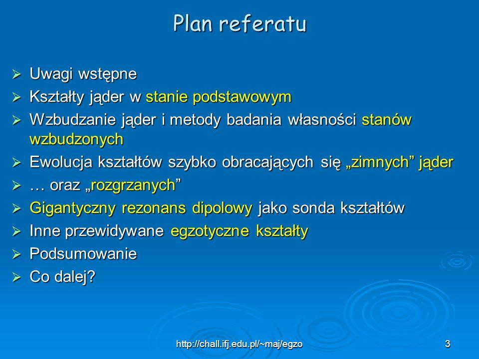 http://chall.ifj.edu.pl/~maj/egzo3 Plan referatu Uwagi wstępne Uwagi wstępne Kształty jąder w stanie podstawowym Kształty jąder w stanie podstawowym W